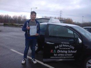Liu Jason Yin Passed Driving Test in Shrewsbury 29th January