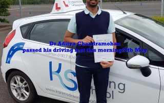 Dr. Aditya Chandramohan passed his driving test this morning 25th May in Shrewsbury